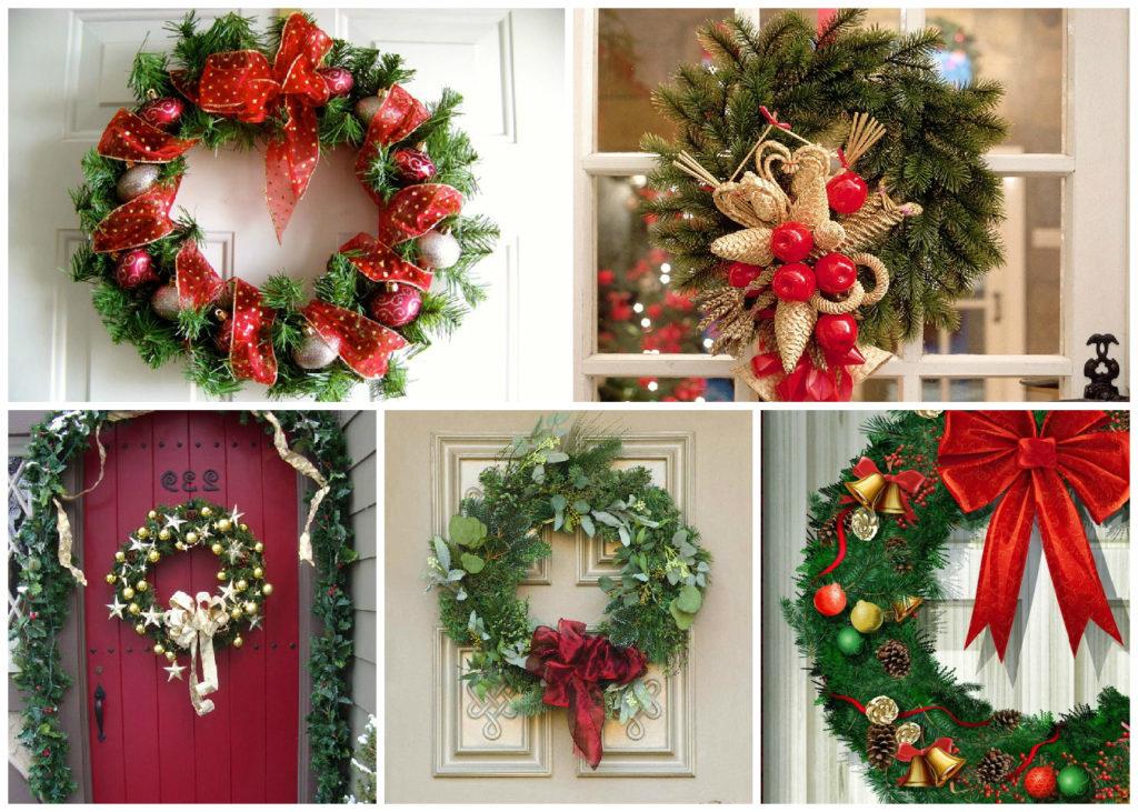 как украсить дверь на новый год