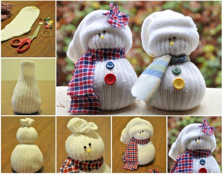 Новогодние украшения своими руками снеговик из носка
