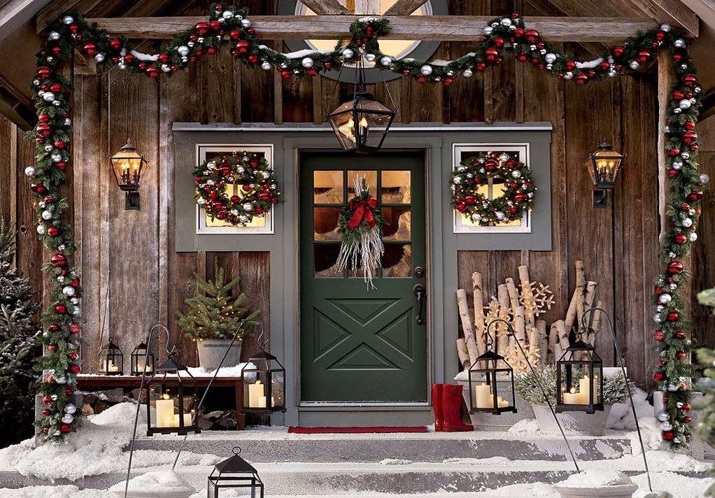 украшение дома к новому году на улице
