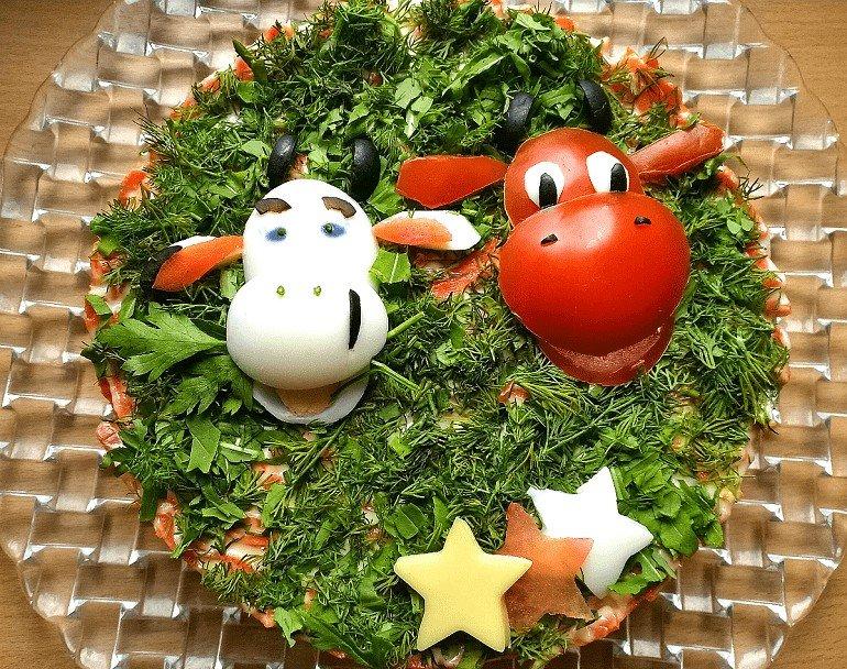 украшение новогоднего салата 2