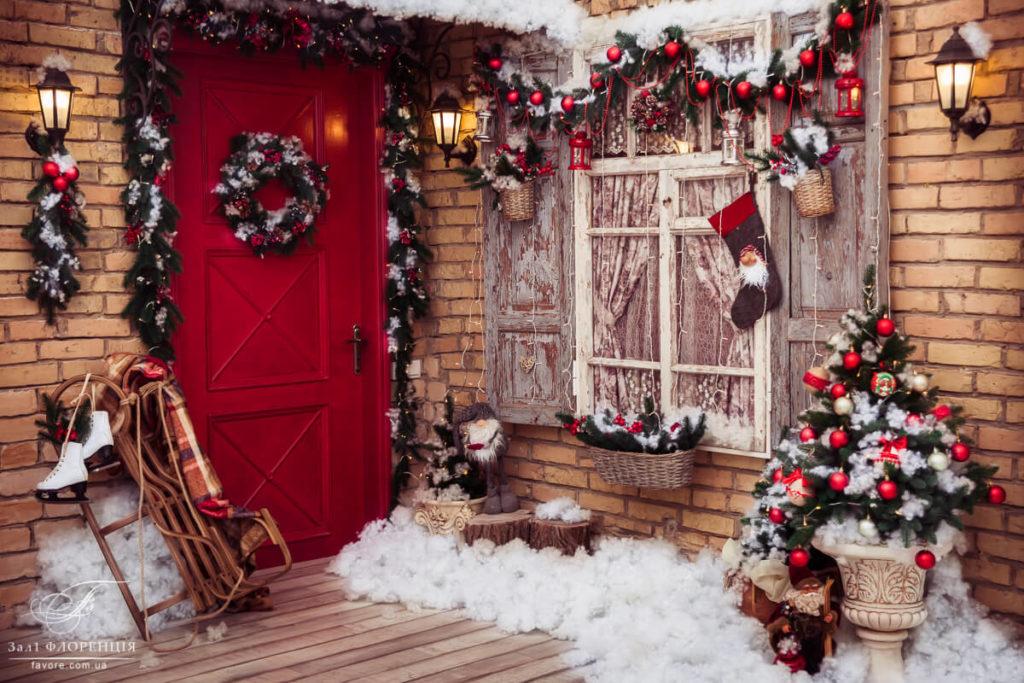 уличное украшение дома на новый год