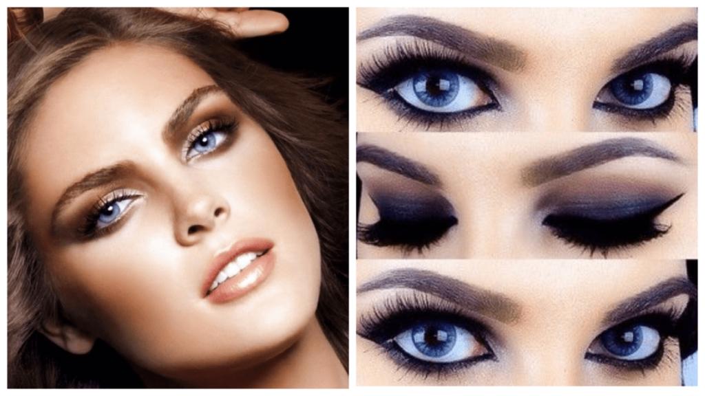 новогодний макияж для голубых глаз