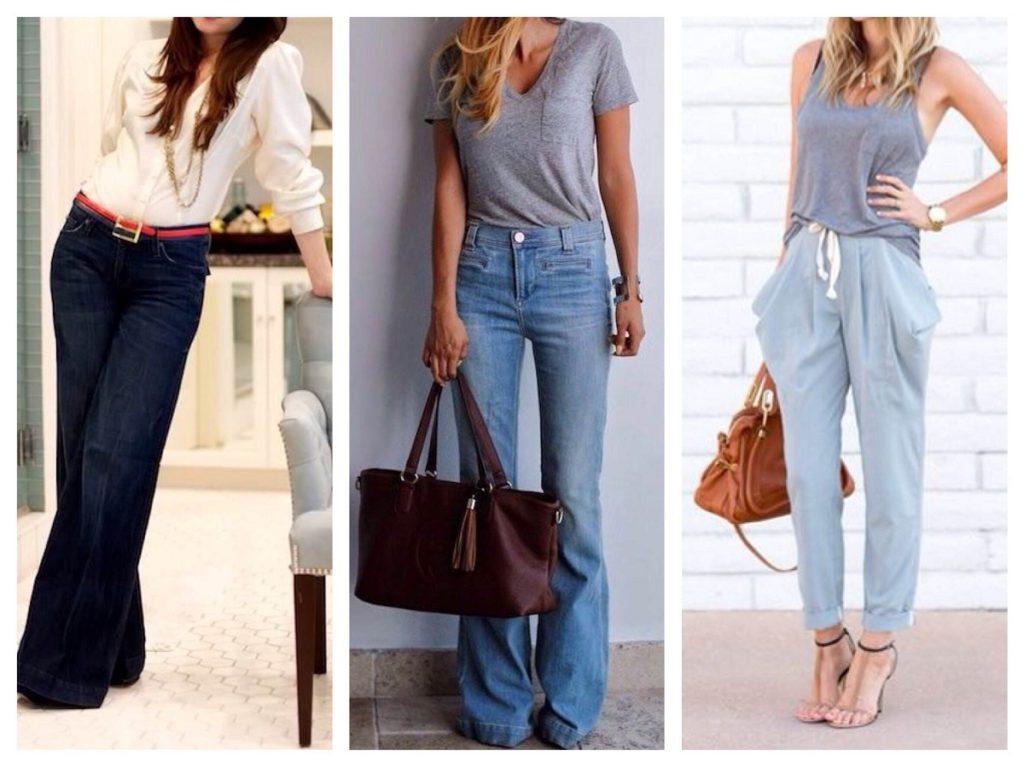 брюки и джинсы для фигуры перевернутый треугольник